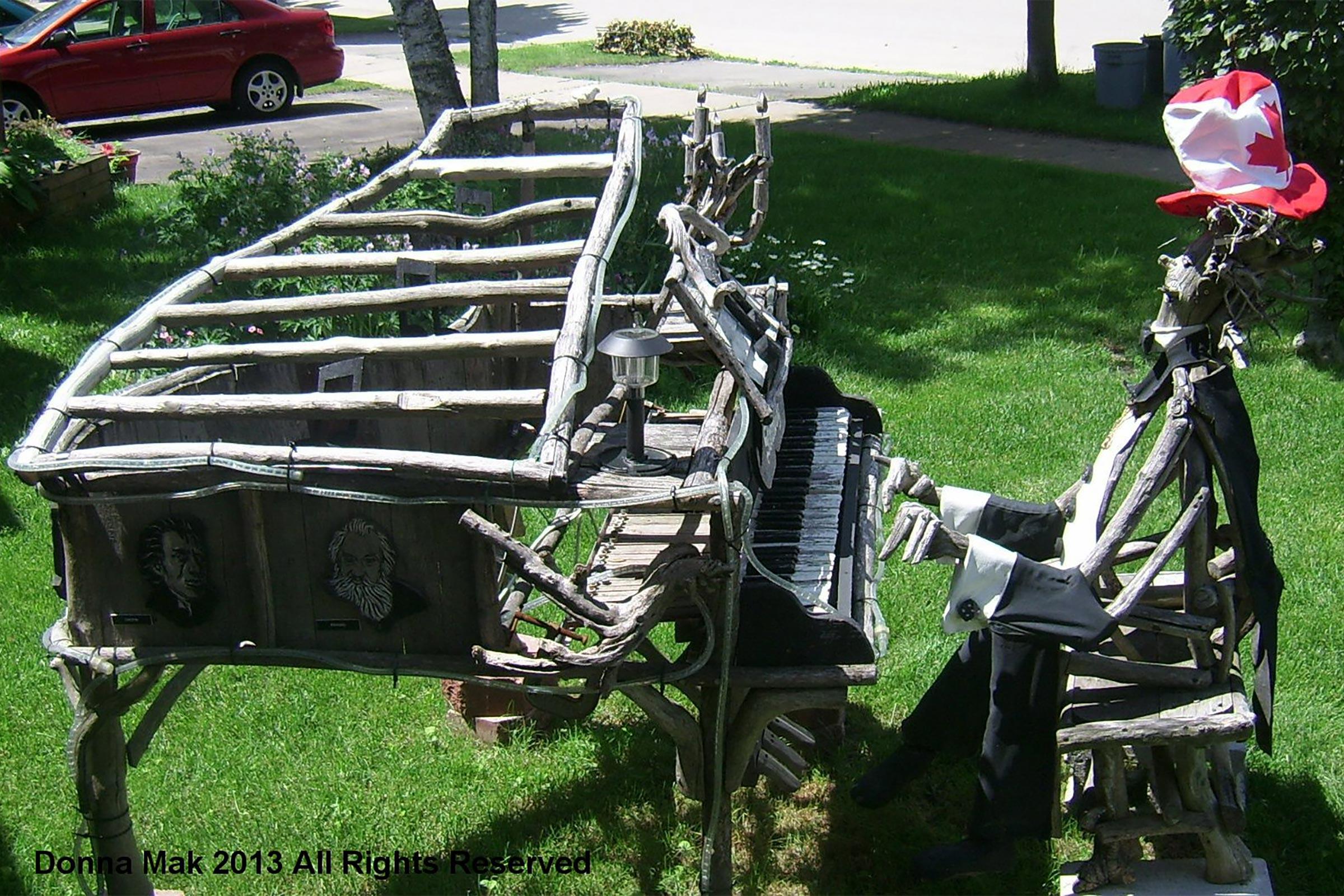 Outdoor Driftwood Sculpture at Donna Mak Piano Studio